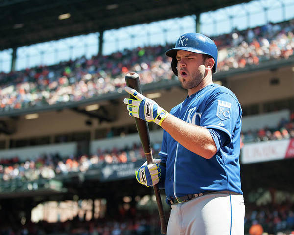 American League Baseball Poster featuring the photograph Mike Moustakas by Rob Tringali