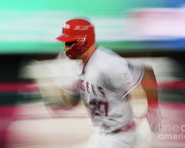 Three Quarter Length Poster featuring the photograph Mike Trout by Patrick Smith