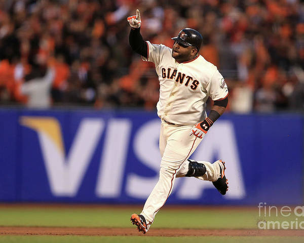 San Francisco Poster featuring the photograph Pablo Sandoval and Justin Verlander by Doug Pensinger