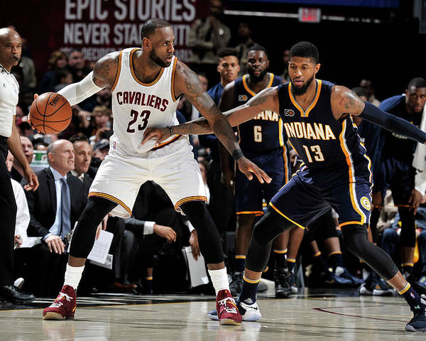 Nba Pro Basketball Poster featuring the photograph Paul George and Lebron James by David Liam Kyle
