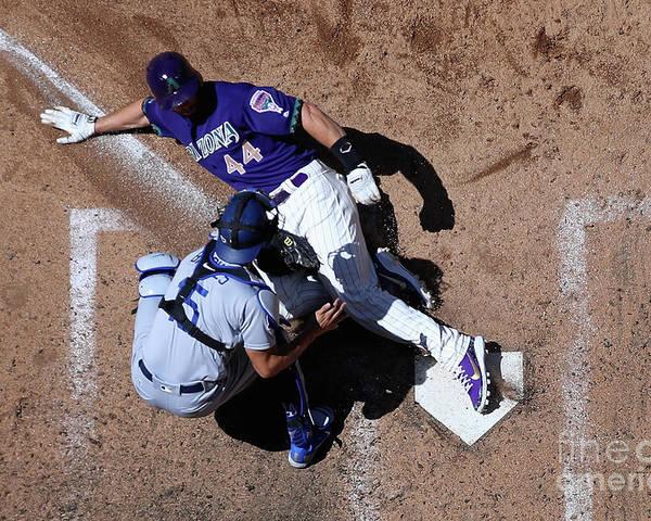 Baseball Catcher Poster featuring the photograph Paul Goldschmidt and Austin Barnes by Christian Petersen