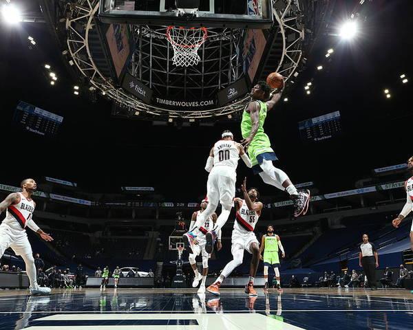 Nba Pro Basketball Poster featuring the photograph Portland Trail Blazers v Minnesota Timberwolves by David Sherman