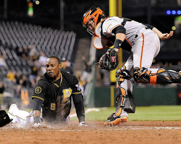 Ninth Inning Poster featuring the photograph Starling Marte And Buster Posey by Joe Sargent