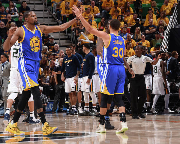Playoffs Poster featuring the photograph Stephen Curry and Kevin Durant by Andrew D. Bernstein