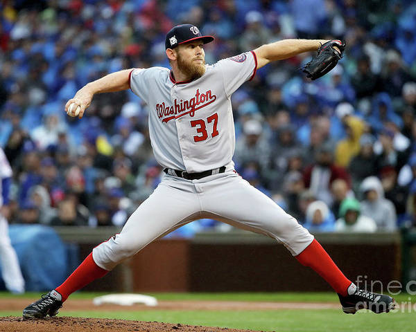 Second Inning Poster featuring the photograph Stephen Strasburg by Jonathan Daniel