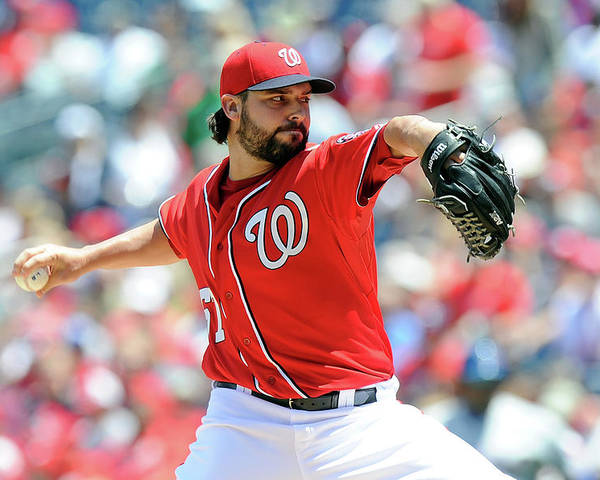 American League Baseball Poster featuring the photograph Tanner Roark by Greg Fiume