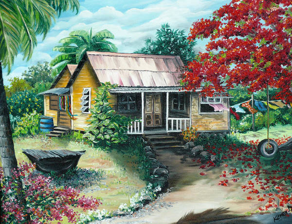 Landscape Painting Caribbean Painting Tropical Painting Island House Painting Poinciana Flamboyant Tree Painting Trinidad And Tobago Painting Poster featuring the painting Trinidad Life by Karin Dawn Kelshall- Best