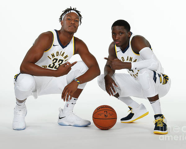 Media Day Poster featuring the photograph Victor Oladipo and Myles Turner by Ron Hoskins