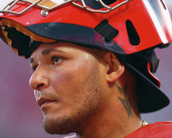Great American Ball Park Poster featuring the photograph Yadier Molina by Andy Lyons