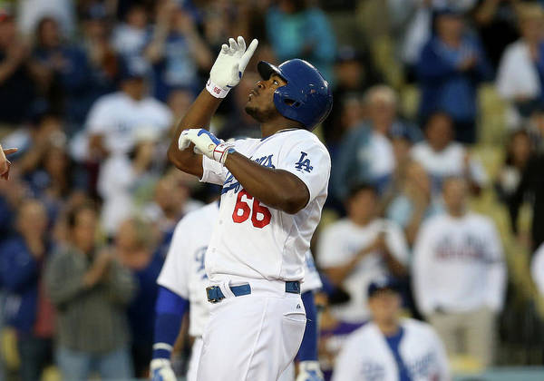 Second Inning Poster featuring the photograph Yasiel Puig by Stephen Dunn