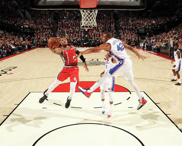 Nba Pro Basketball Poster featuring the photograph Damian Lillard by Cameron Browne