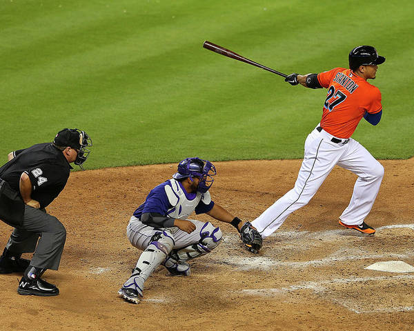 American League Baseball Poster featuring the photograph Giancarlo Stanton by Mike Ehrmann