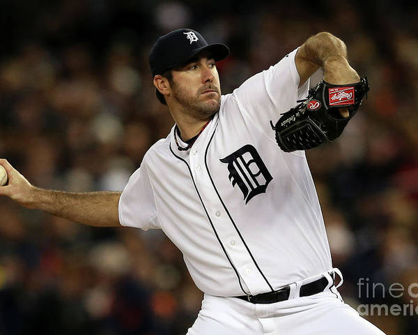 American League Baseball Poster featuring the photograph Justin Verlander by Leon Halip