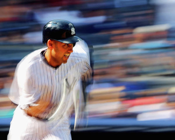 Ninth Inning Poster featuring the photograph Derek Jeter by Al Bello