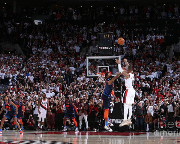 Playoffs Poster featuring the photograph Damian Lillard by Sam Forencich