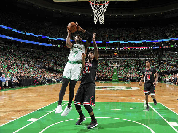 Playoffs Poster featuring the photograph Jaylen Brown by Brian Babineau