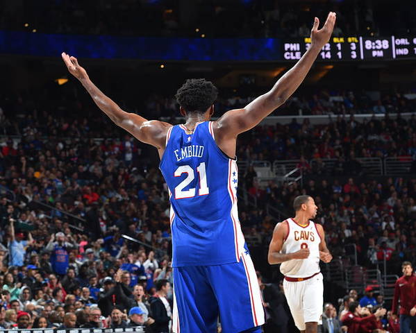 Crowd Poster featuring the photograph Joel Embiid by Jesse D. Garrabrant