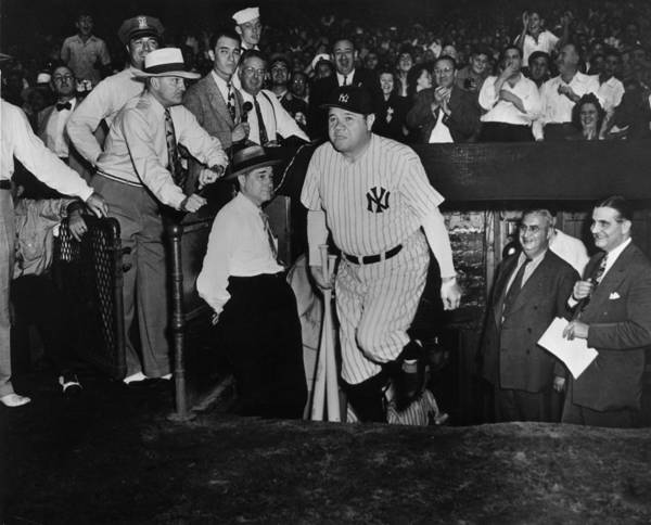 Crowd Poster featuring the photograph Babe Ruth by American Stock Archive