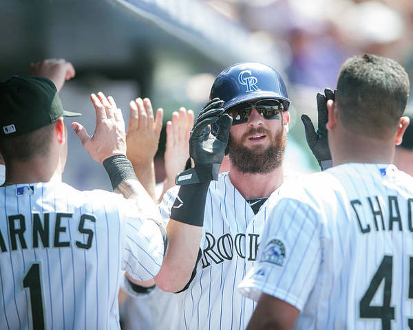 Scoring Poster featuring the photograph Charlie Blackmon by Dustin Bradford