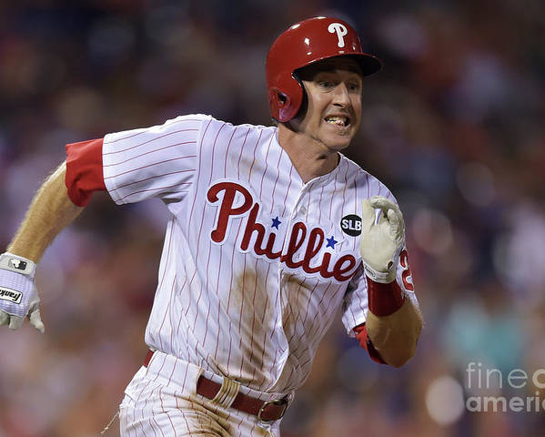 Three Quarter Length Poster featuring the photograph Chase Utley by Drew Hallowell