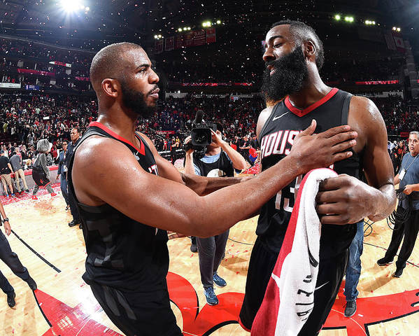 Playoffs Poster featuring the photograph Chris Paul and James Harden by Andrew D. Bernstein