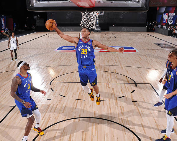 Nba Pro Basketball Poster featuring the photograph Denver Nuggets v San Antonio Spurs by David Dow