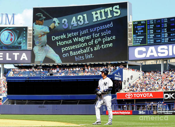People Poster featuring the photograph Derek Jeter by Jim Mcisaac