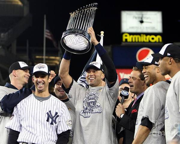 American League Baseball Poster featuring the photograph Derek Jeter, Mariano Rivera, and Jorge Posada by Jed Jacobsohn