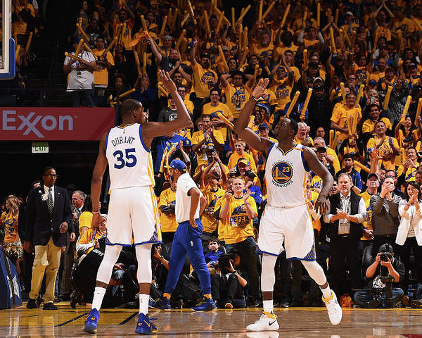 Playoffs Poster featuring the photograph Draymond Green and Kevin Durant by Noah Graham