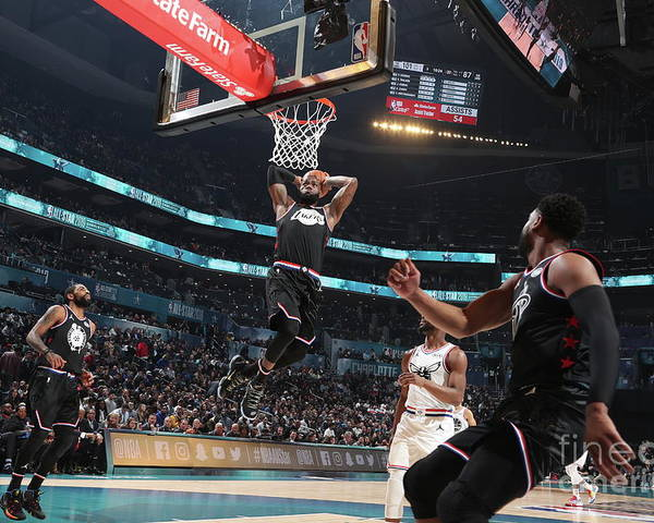 Nba Pro Basketball Poster featuring the photograph Dwyane Wade and Lebron James by Nathaniel S. Butler