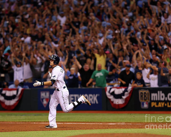 American League Baseball Poster featuring the photograph Evan Longoria by Mike Ehrmann