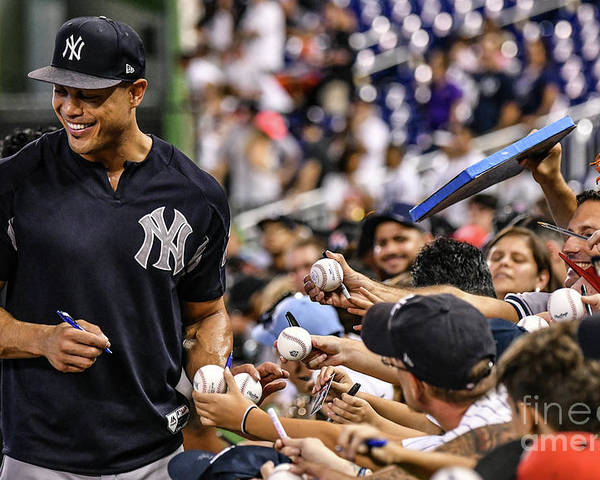 People Poster featuring the photograph Giancarlo Stanton by Mark Brown