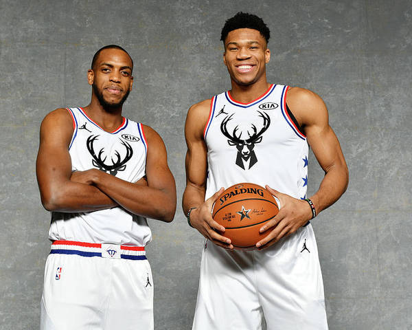 Nba Pro Basketball Poster featuring the photograph Giannis Antetokounmpo and Khris Middleton by Jesse D. Garrabrant