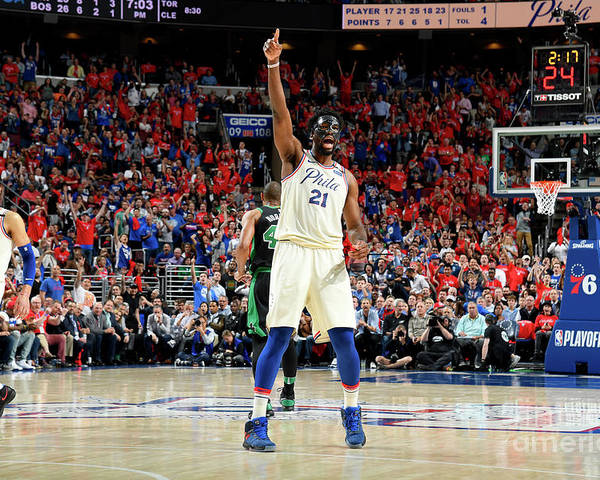 Playoffs Poster featuring the photograph Joel Embiid by Brian Babineau