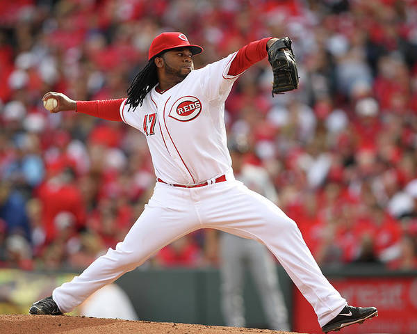 Great American Ball Park Poster featuring the photograph Johnny Cueto by John Grieshop