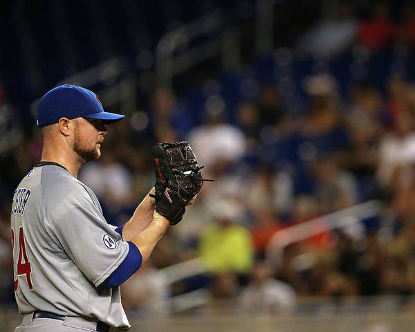 People Poster featuring the photograph Jon Lester by Mike Ehrmann