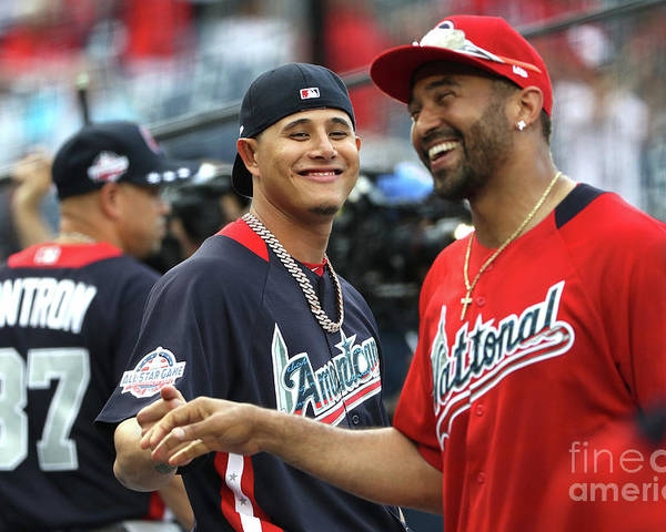 People Poster featuring the photograph Manny Machado and Matt Kemp by Patrick Smith