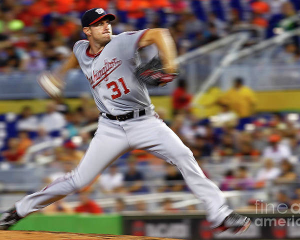 People Poster featuring the photograph Max Scherzer by Mike Ehrmann