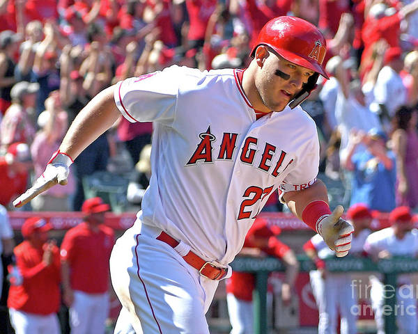 Three Quarter Length Poster featuring the photograph Mike Trout by Jayne Kamin-oncea