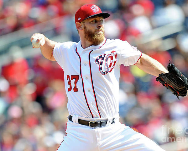 Three Quarter Length Poster featuring the photograph Stephen Strasburg by Greg Fiume