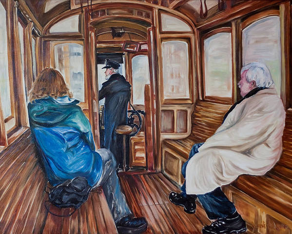 Tram Poster featuring the painting The Tram by Jennifer Lycke