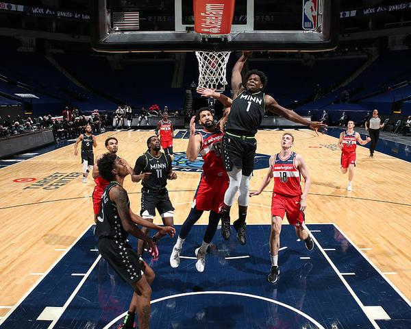 Nba Pro Basketball Poster featuring the photograph Washington Wizards v Minnesota Timberwolves by David Sherman