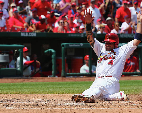 St. Louis Cardinals Poster featuring the photograph Yadier Molina by Dilip Vishwanat