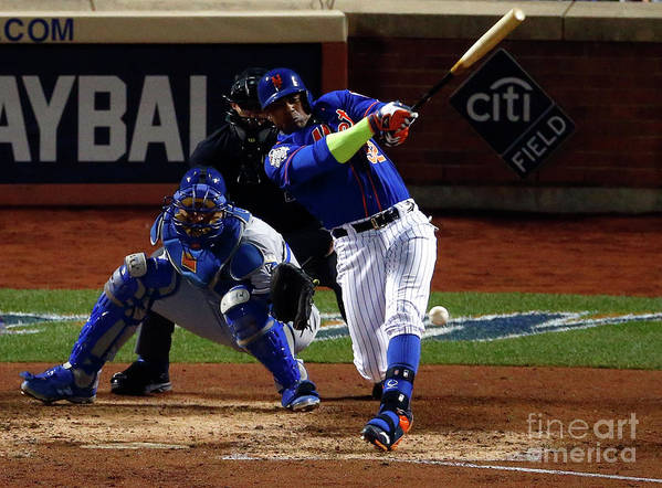 Yoenis Cespedes Poster featuring the photograph Yoenis Cespedes by Mike Stobe