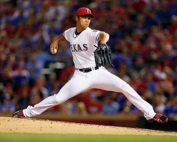 American League Baseball Poster featuring the photograph Yu Darvish by Tom Pennington