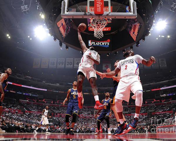 Playoffs Poster featuring the photograph Deandre Jordan by Andrew D. Bernstein