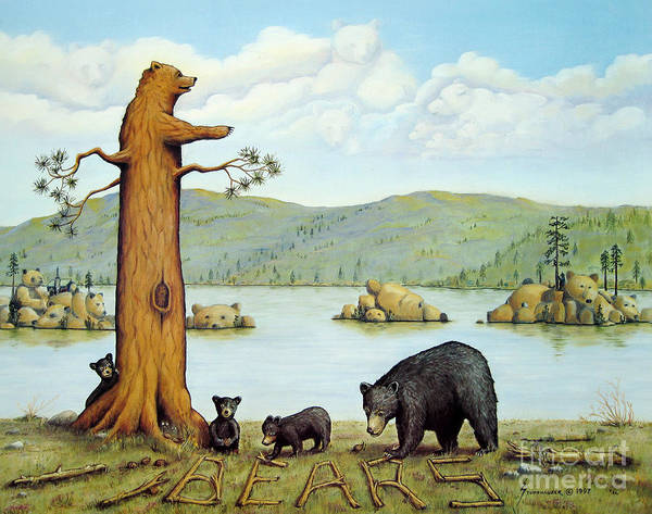 Bears Poster featuring the painting 27 Bears by Jerome Stumphauzer
