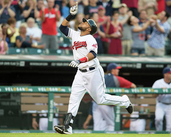 American League Baseball Poster featuring the photograph Carlos Santana by Jason Miller