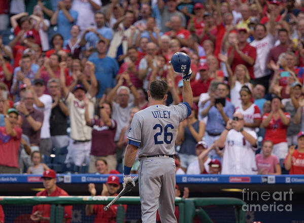 Crowd Poster featuring the photograph Chase Utley by Mitchell Leff