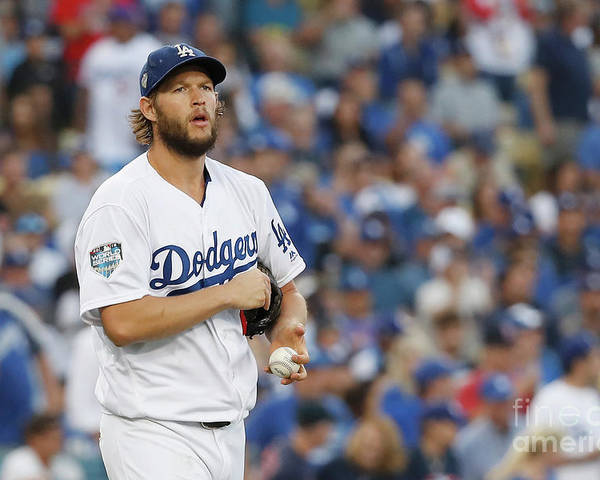 American League Baseball Poster featuring the photograph Clayton Kershaw by Sean M. Haffey